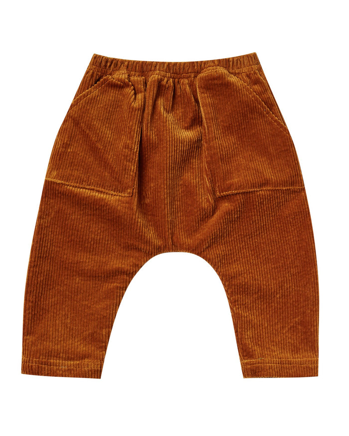 Little rylee + cru baby girl utility harem pant in cinnamon
