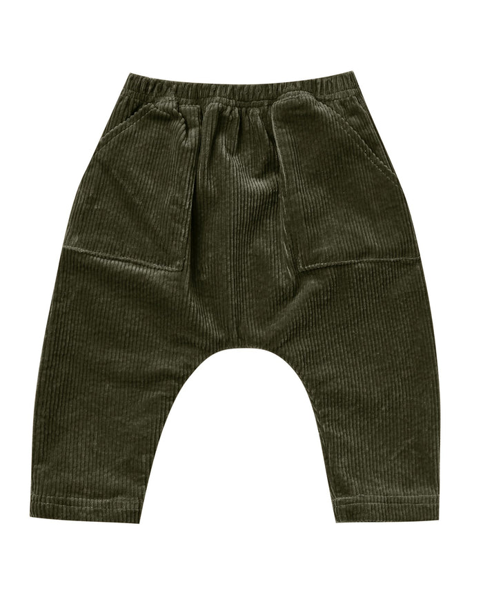 Little rylee + cru baby girl utility harem pant in forest