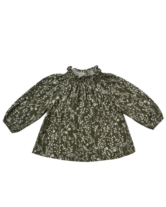 Little rylee + cru baby girl vines audrey blouse in forest