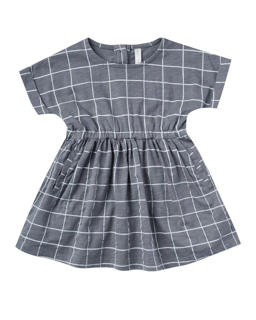 Little rylee + cru girl 2-3 wavy check kat dress in washed indigo