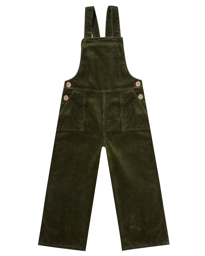 Little rylee + cru girl wide leg overall in forest