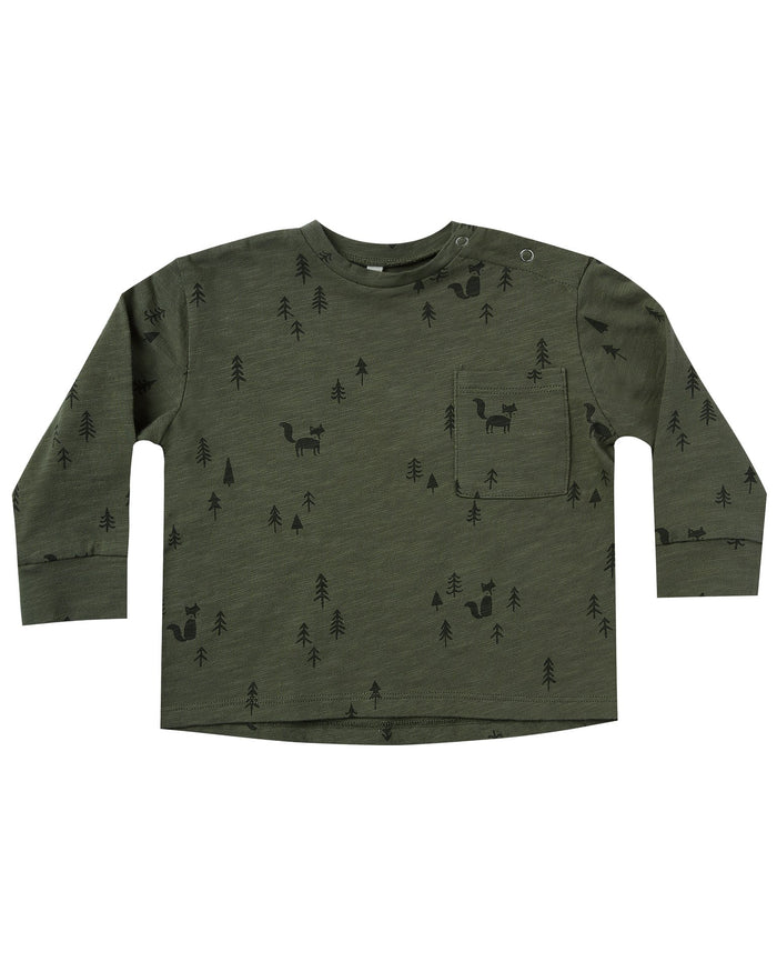 Little rylee + cru baby boy woods longsleeve skater tee in forest