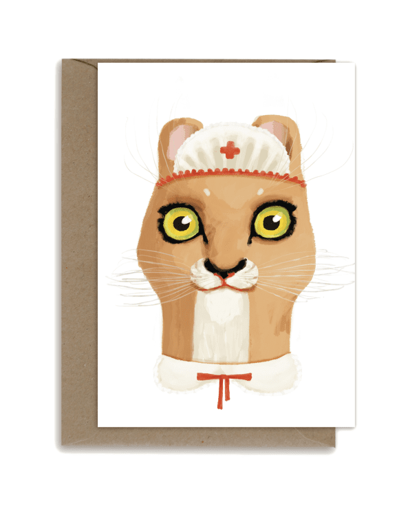 Little shhh my darling paper+party Cat Nurse Card