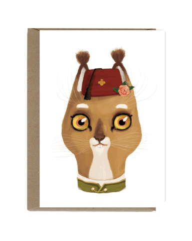 Little shhh my darling paper+party Cat with Red Hat Card