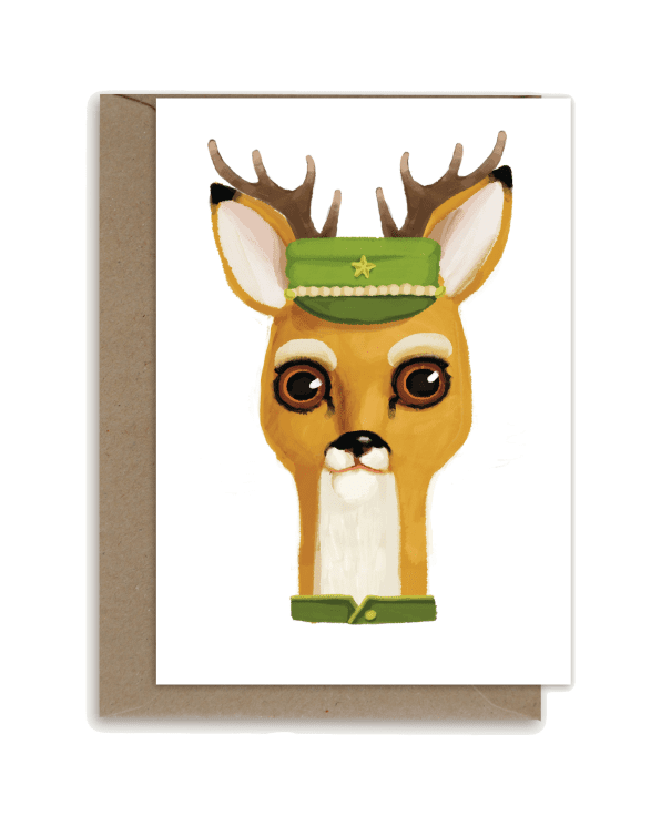 Little shhh my darling paper+party Deer with Green Hat Card