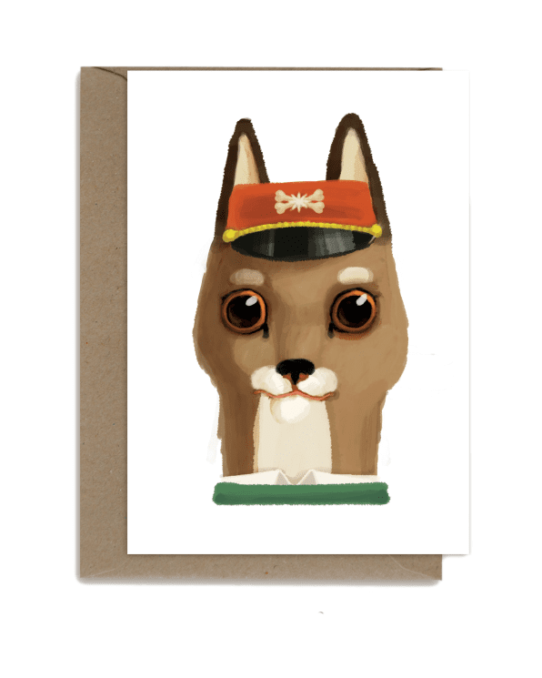 Little shhh my darling paper+party Dog with Red Hat Card