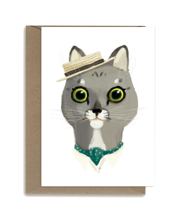 Little shhh my darling paper+party Grey Cat with Straw Hat Card