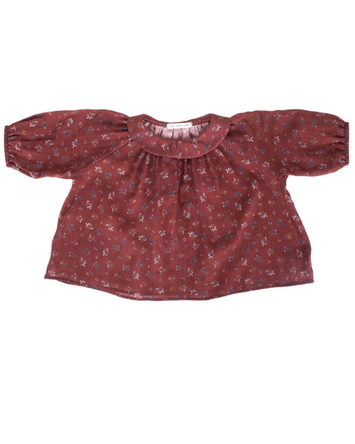 Little soor ploom girl agatha tunic in beetroot prairie print