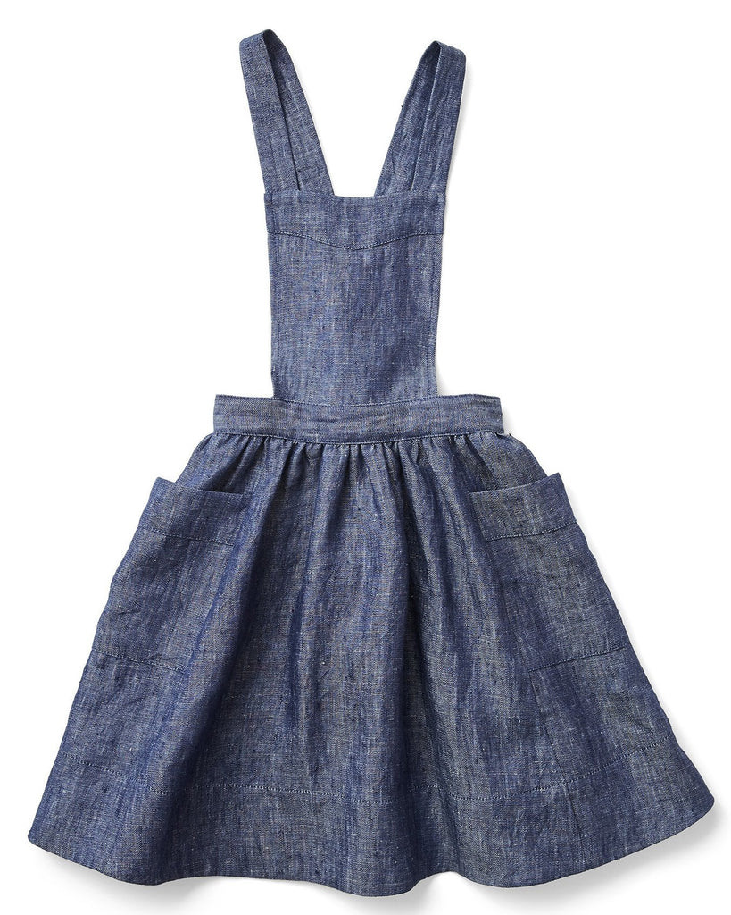 Little soor ploom girl harriet pinafore in chambray