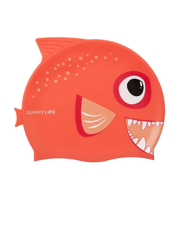 Little sunnylife play fishy red swimming cap