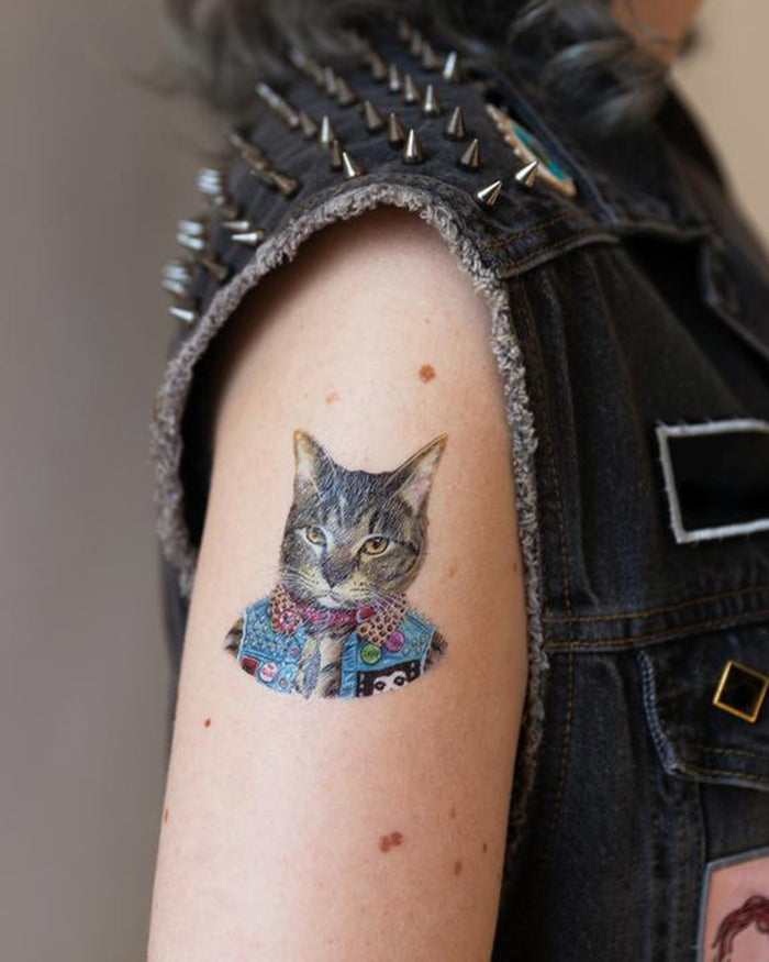Little tattly paper+party punk cat tattoo