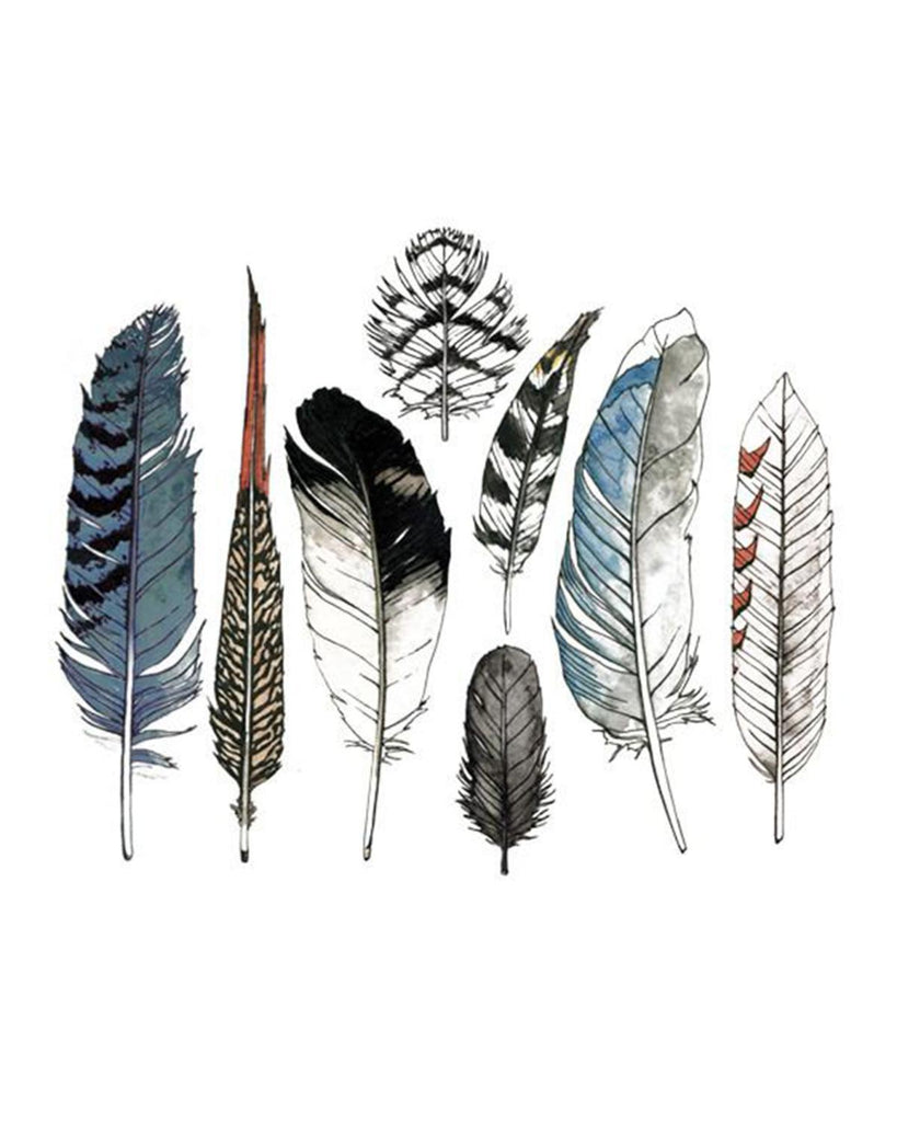 Little tattly paper+party Watercolor Feathers Set Tattoos