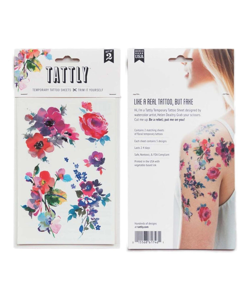 Little tattly paper+party Watercolor Floral Tattoos