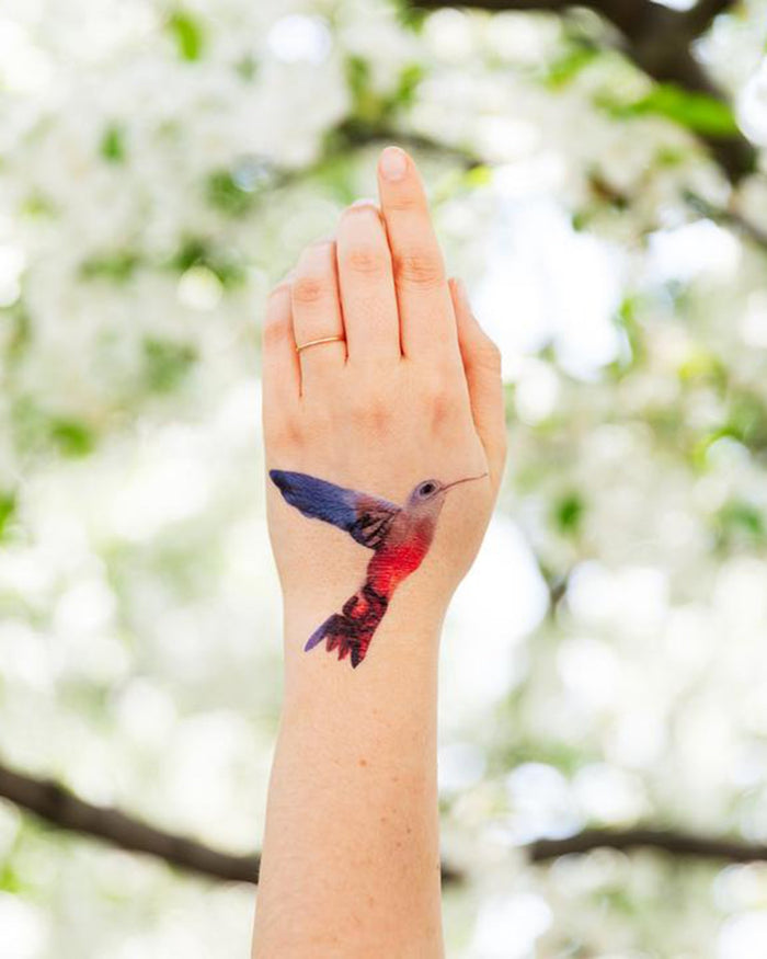 Little tattly paper+party watercolor hummingbird tattoo