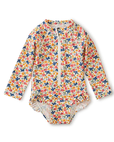 Little tea collection baby girl baby rash guard one-piece in cyprus floral