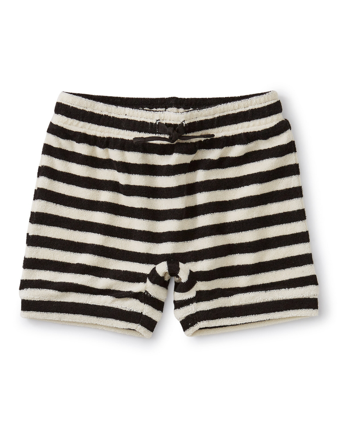 Little tea collection baby baby terry cloth shorts in jet black
