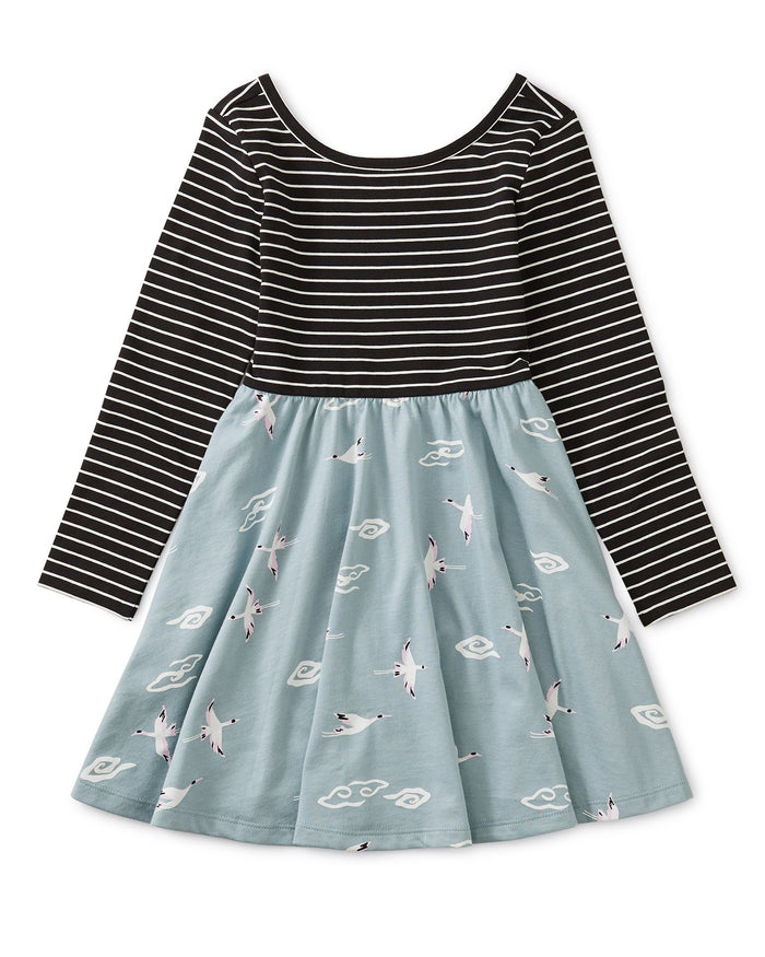 Little tea collection girl ballet skirted dress in crane skies