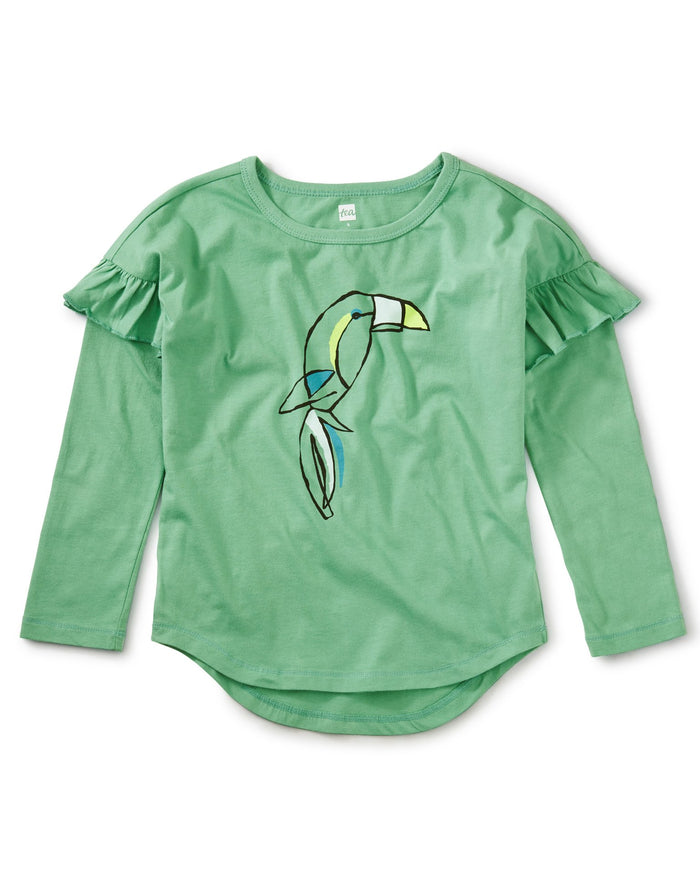 Little tea collection girl beak out ruffle graphic tee