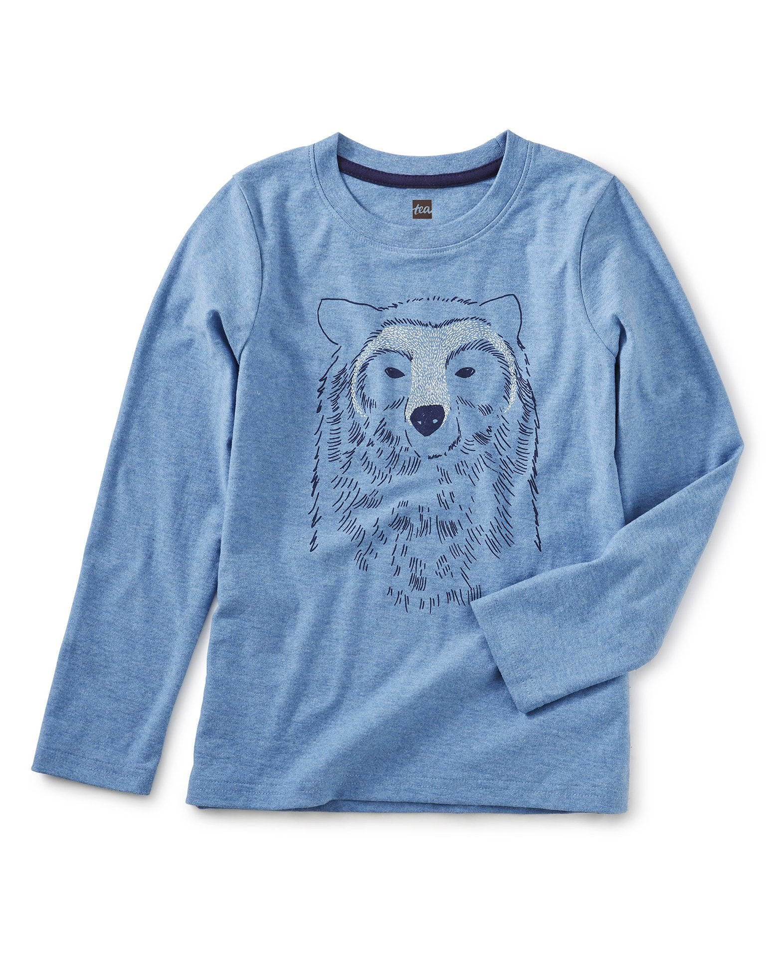 Little tea collection boy bear buddy graphic tee in pacific heather