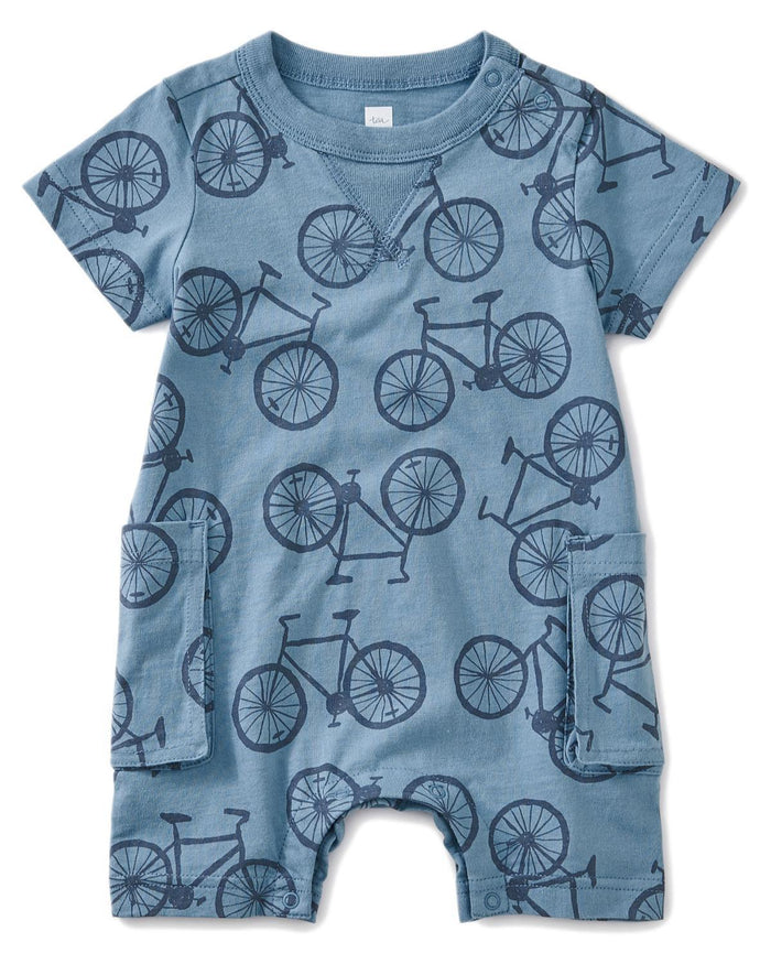 Little tea collection baby boy 0-3 bicycle print romper