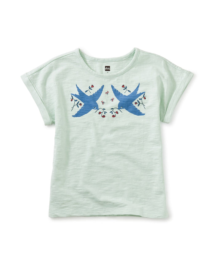 Little tea collection girl bluebirds of happiness tee