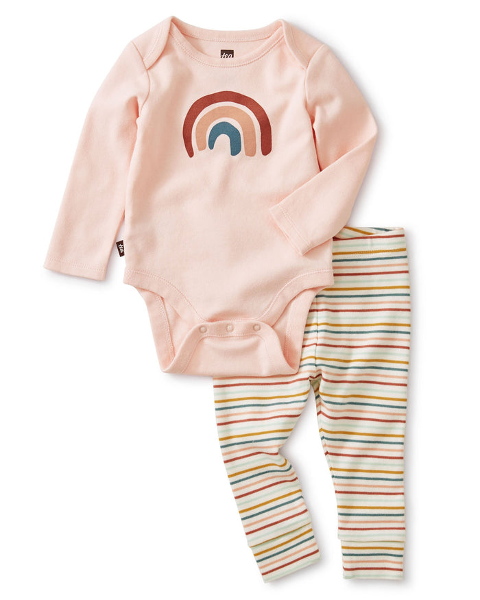 Little tea collection layette bodysuit baby outfit in chalk