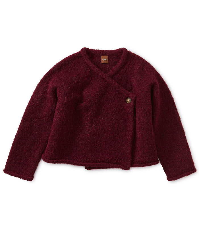 Little tea collection girl bouclé wrap cardigan