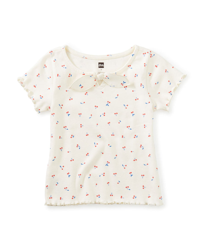 Little tea collection girl bow front top in tiny ginja berries