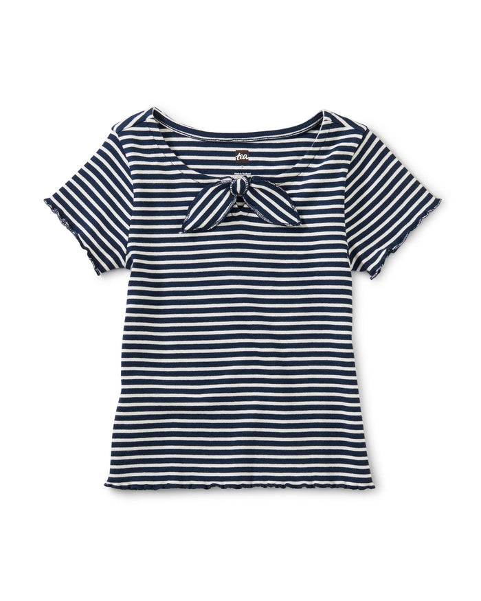 Little tea collection girl bow front top in whale blue