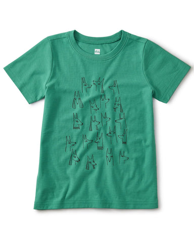 Little tea collection boy brave jackal dogs tee in viridis