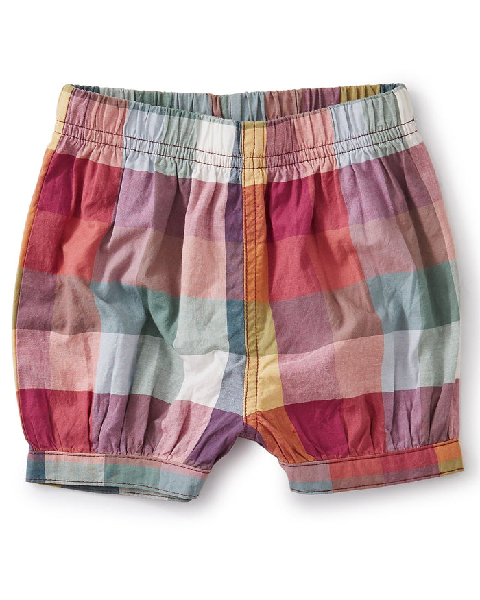 Little tea collection baby girl bubble shorts in suez plaid
