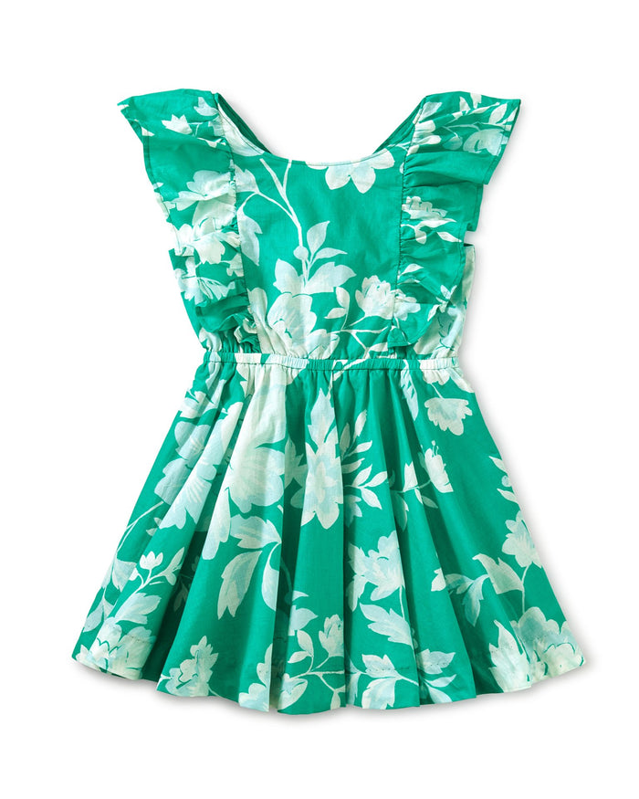 Little tea collection girl button back ruffle dress in porto floral