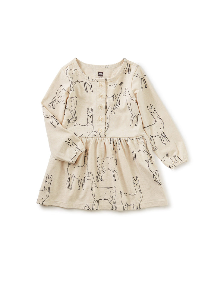 Little tea collection baby girl Button Front Baby Dress in Llama Love