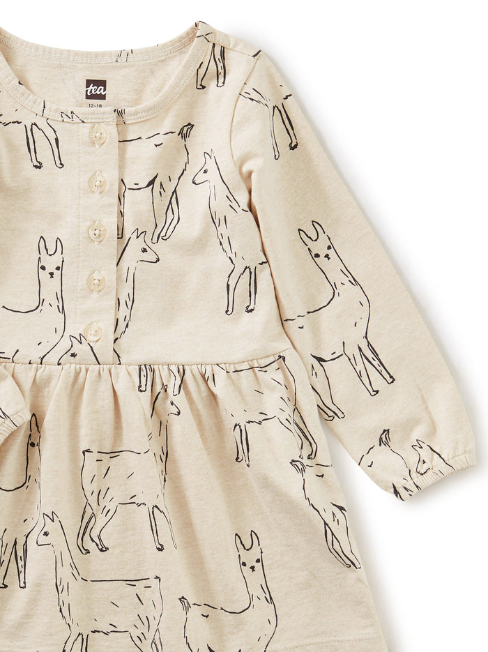 Little tea collection baby girl 3-6 Button Front Baby Dress in Llama Love