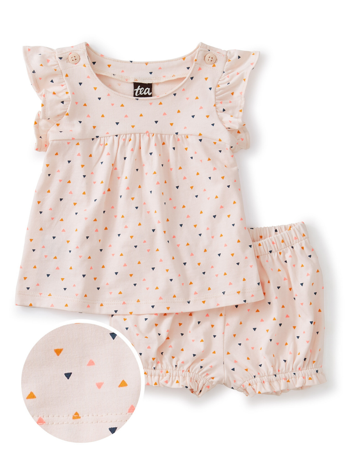 Little tea collection baby button shoulder baby set in confetti + crystal pink
