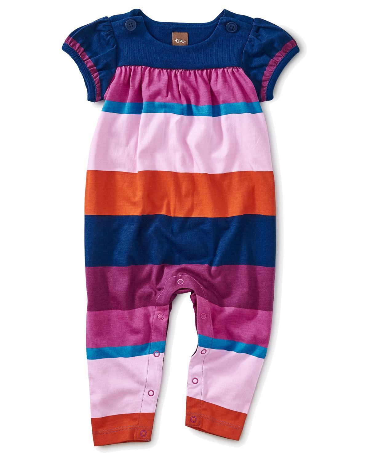 Little tea collection baby accessories 0-3 cabana stripe button romper
