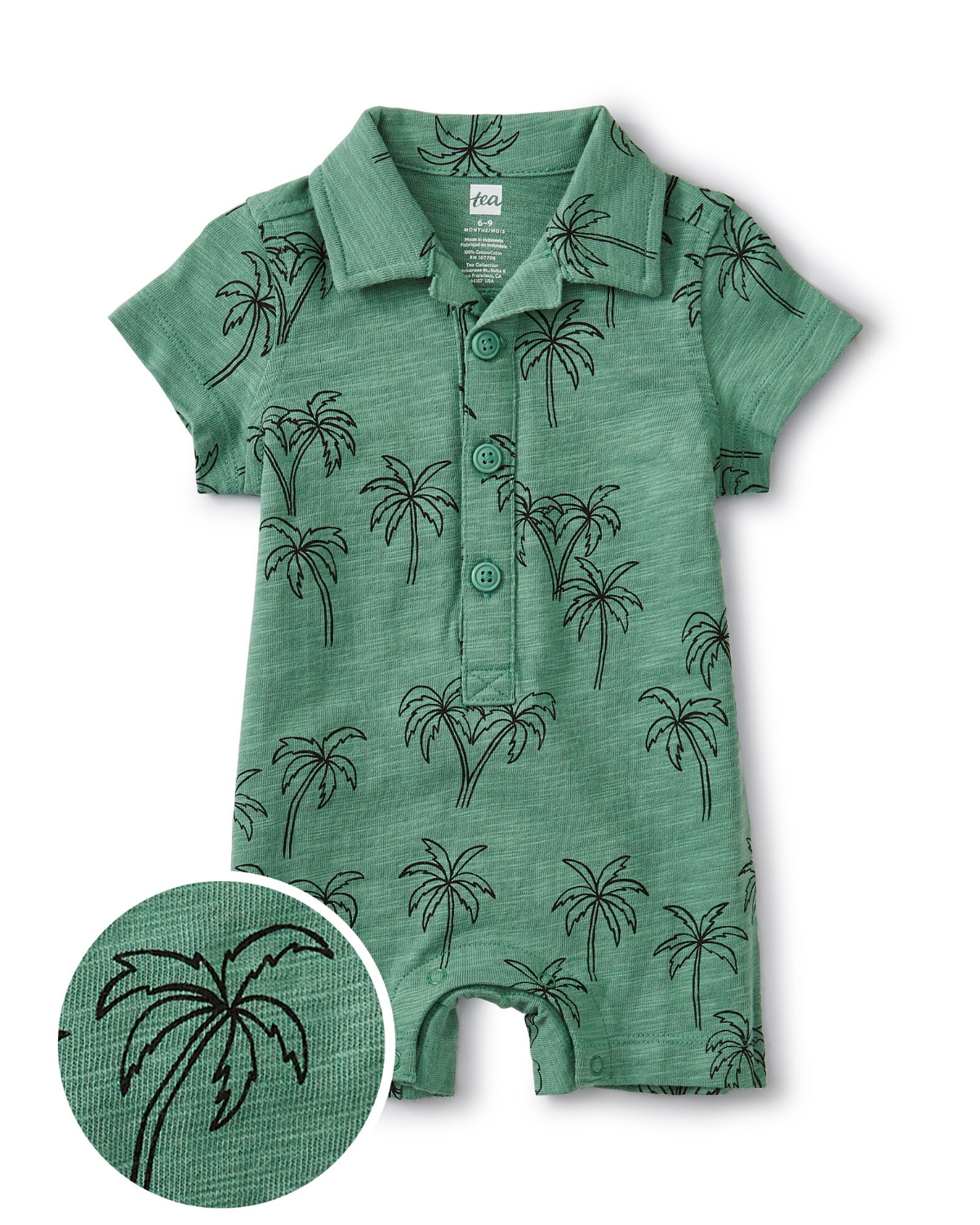 Little tea collection baby camp collar romper in palm trees