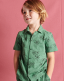 Little tea collection boy camp collar top in palm trees