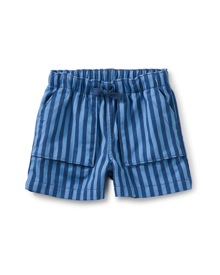 Little tea collection girl camp shorts in cobalt