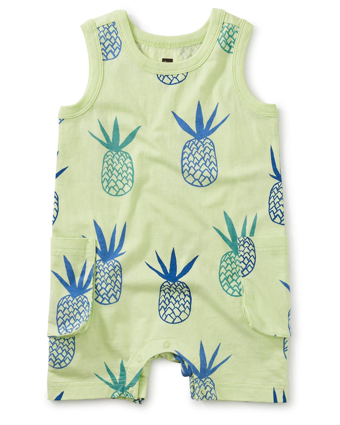 Little tea collection baby boy cargo pocket tank baby romper in pineapples in portugal