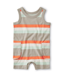 Little tea collection baby cargo pocket tank romper in sunburst