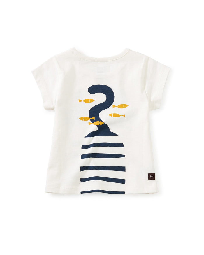 Little tea collection baby girl cat fish graphic tee