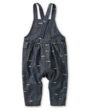 Little tea collection baby boy chambray crossback overall in sharks