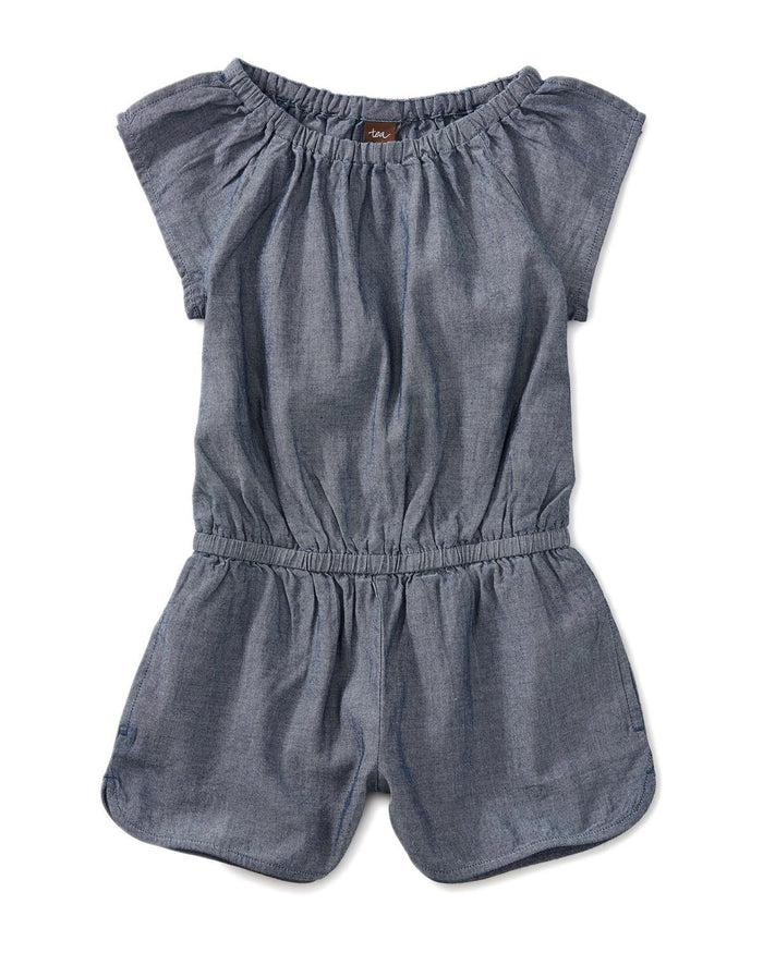 Little tea collection girl 10 chambray flutter sleeve romper
