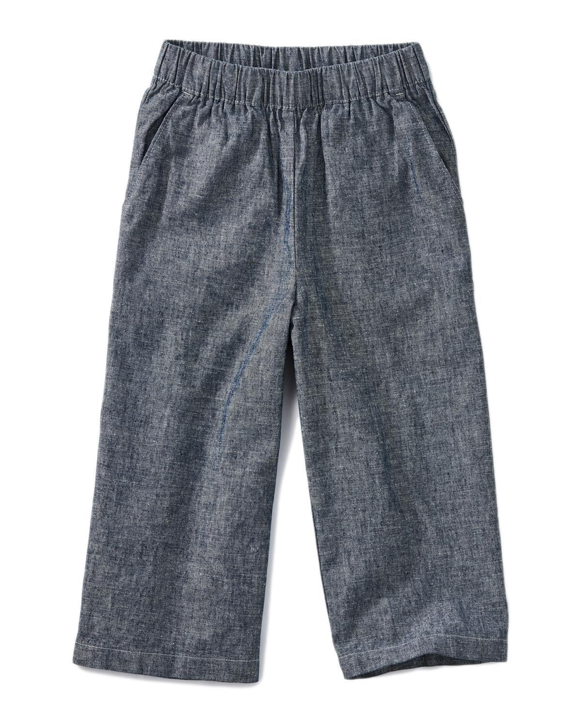 Little tea collection girl 10 chambray wide leg pant