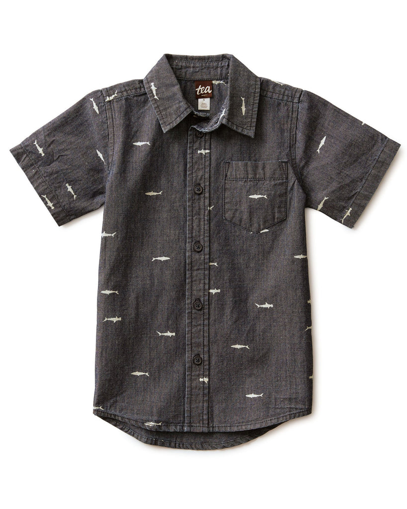 Little tea collection boy chambray woven shirt in sharks