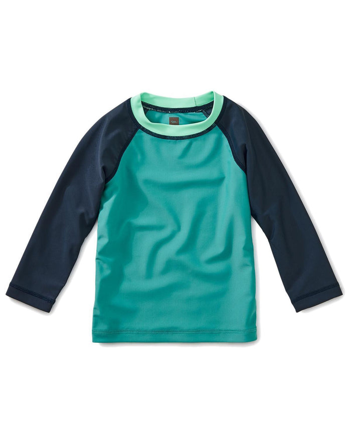 Little tea collection baby boy 12-18 colorblock long sleeve baby rash guard