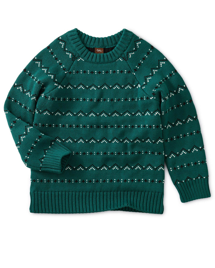 Little tea collection boy crewneck fairisle sweater