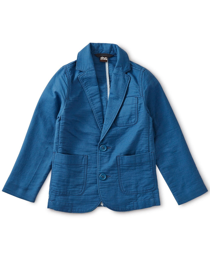 Little tea collection boy destination blazer in batik blue