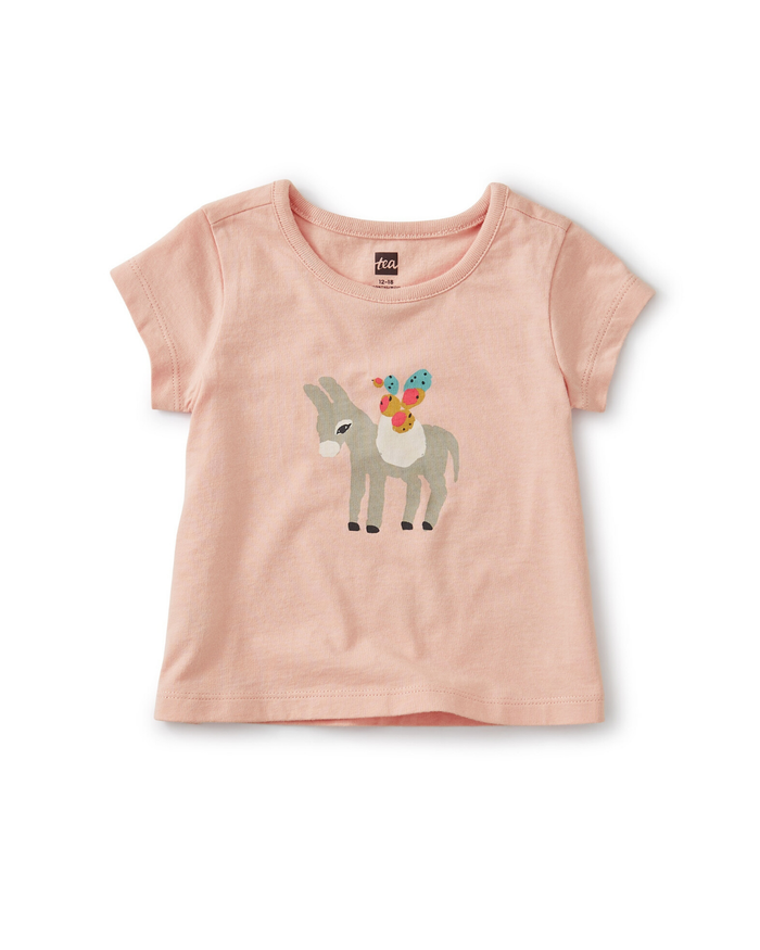 Little tea collection girl donkey & friends bff tee in dusty coral